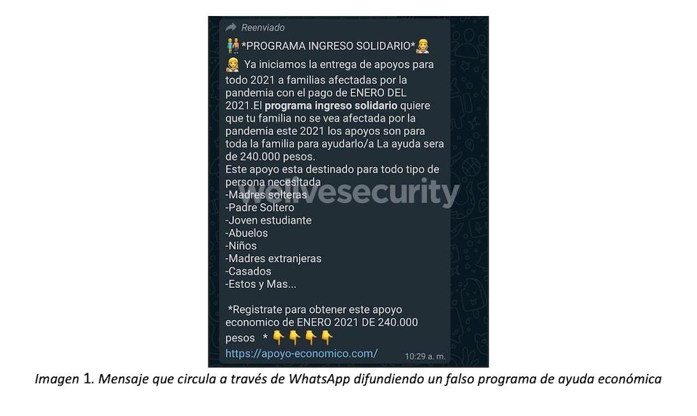 """Engaño vía WhatsApp con el Programa """"Ingreso Solidario"""" en Colombia"""