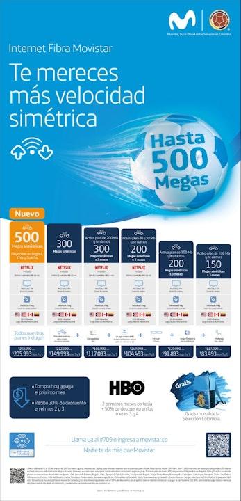 Movistar ofrece 500 megas de Internet por fibra óptica en Bogotá
