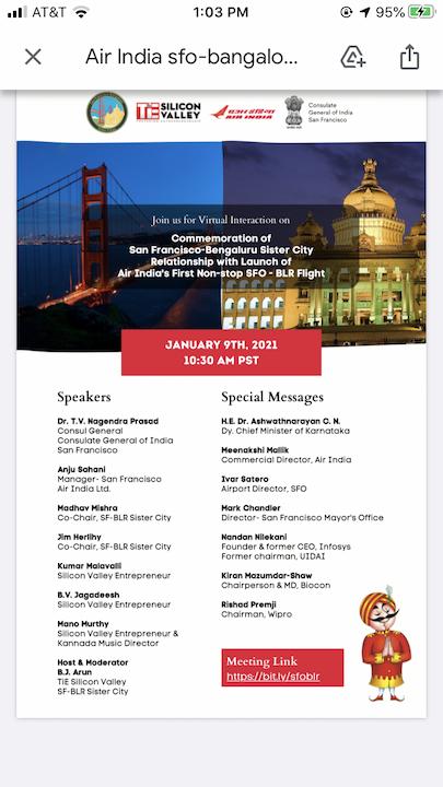 Inaugural Flight San Francisco Bangalore Saturday 1/9/21 at 10.30am PST