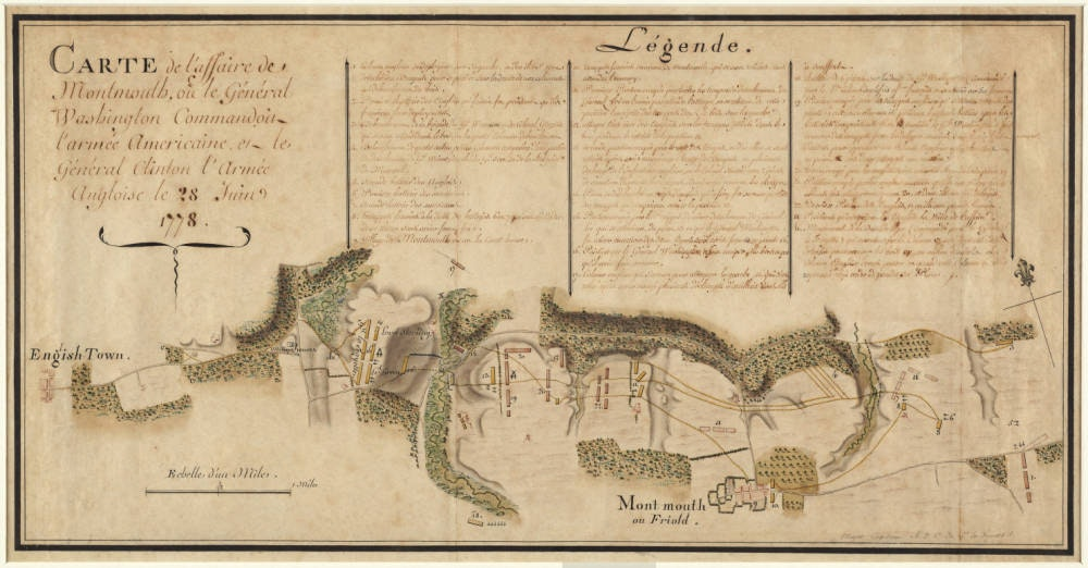 Lafayette's Map Maker Depicts the Battle of Monmouth