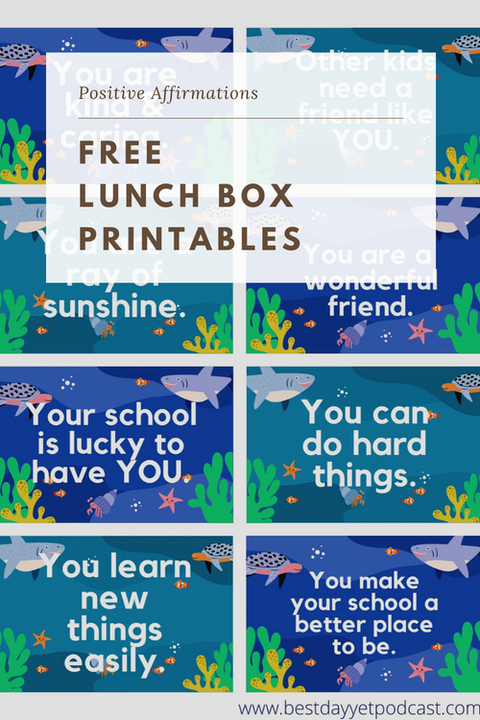FREE Shark Printable Affirmation Lunch Cards