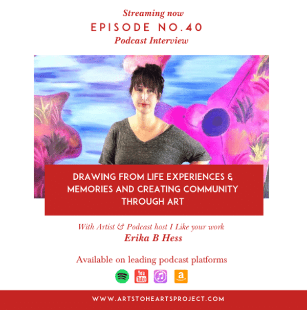 Drawing from life experiences & memories and creating community through art with Erika B Hess, Artist & podcast host I Like your work Image