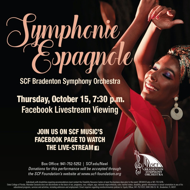 Symphonie Espagnole-Presented by the SCF Bradenton Symphony Orchestra, Thursday, October 15, 7:30 PM-Facebook Livestream