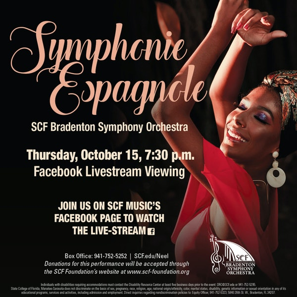 Symphonie Espagnole-Presented by the SCF Bradenton Symphony Orchestra, Thursday, October 15, 7:30 PM-Facebook Livestream Image