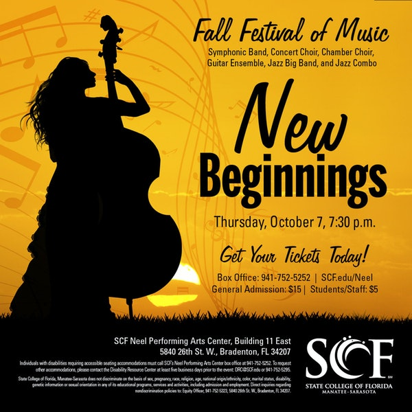 New Beginnings-Presented by the SCF Music Program, Thursday, October 7, 7:30 p.m. in the Neel Performing Arts Center Image
