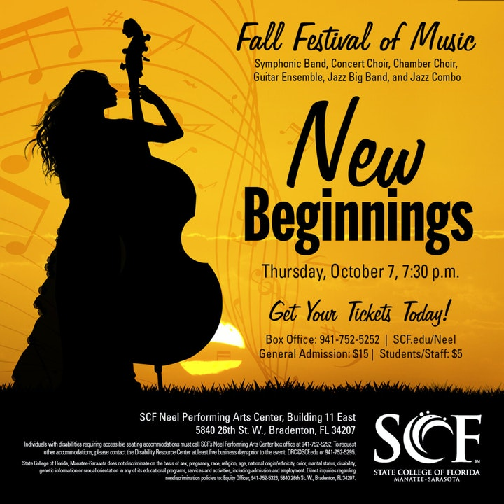 New Beginnings-Presented by the SCF Music Program, Thursday, October 7, 7:30 p.m. in the Neel Performing Arts Center