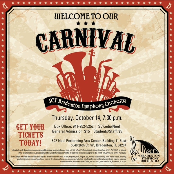 Welcome to Our Carnival-Presented by the SCF Bradenton Symphony Orchestra featuring trumpet soloist Brandon Ridenour Image
