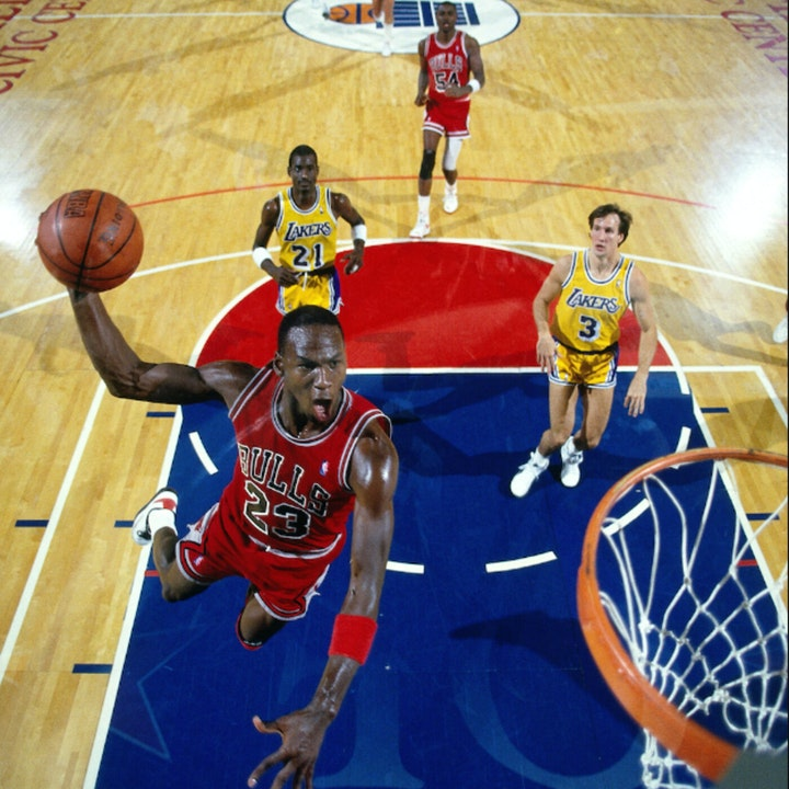 Michael Jordan's fourth NBA season - 1987 Hall of Fame Game (Bulls v Lakers - preseason) - NB88-2