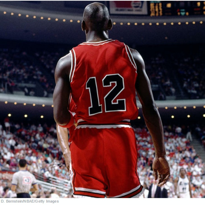 Michael Jordan wears jersey number 12 (Feb 14, 1990) - BTG-2