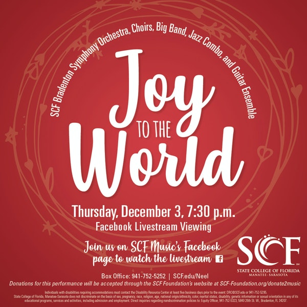 Joy to the World-Presented by the SCF Music Program, Thursday, December 3, 7:30 PM-Facebook Livestream Image